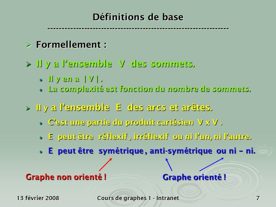 13 février 2008Cours de graphes 1 - Intranet7 Formellement : Formellement : Il y a lensemble V des sommets. Il y a lensemble V des sommets. Il y en a