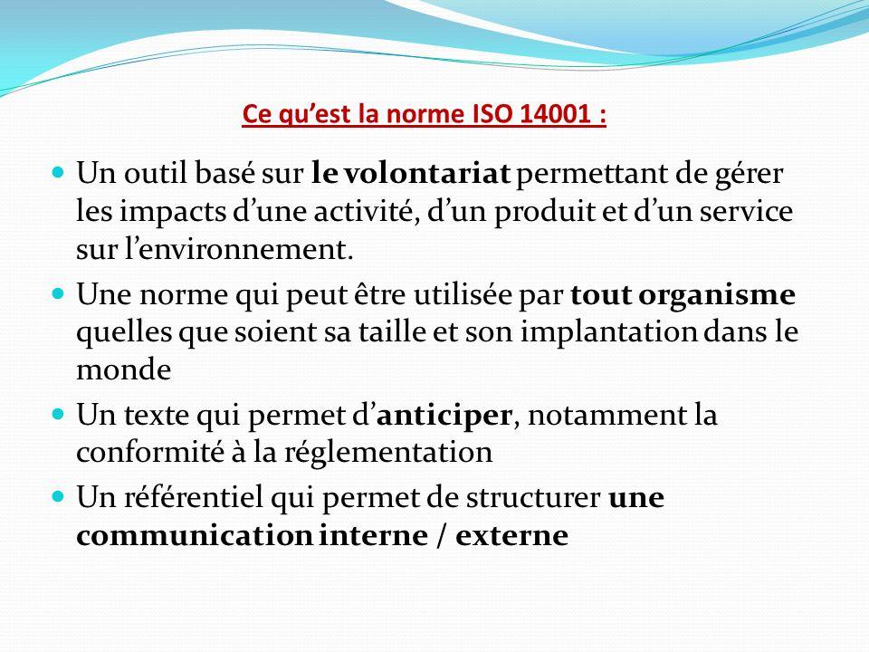 Ce quest la norme ISO 14001 : Un outil basé sur le volontariat permettant de gérer les impacts dune activité, dun produit et dun service sur lenvironn