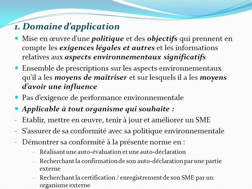 1. Domaine dapplication Mise en œuvre dune politique et des objectifs qui prennent en compte les exigences légales et autres et les informations relat