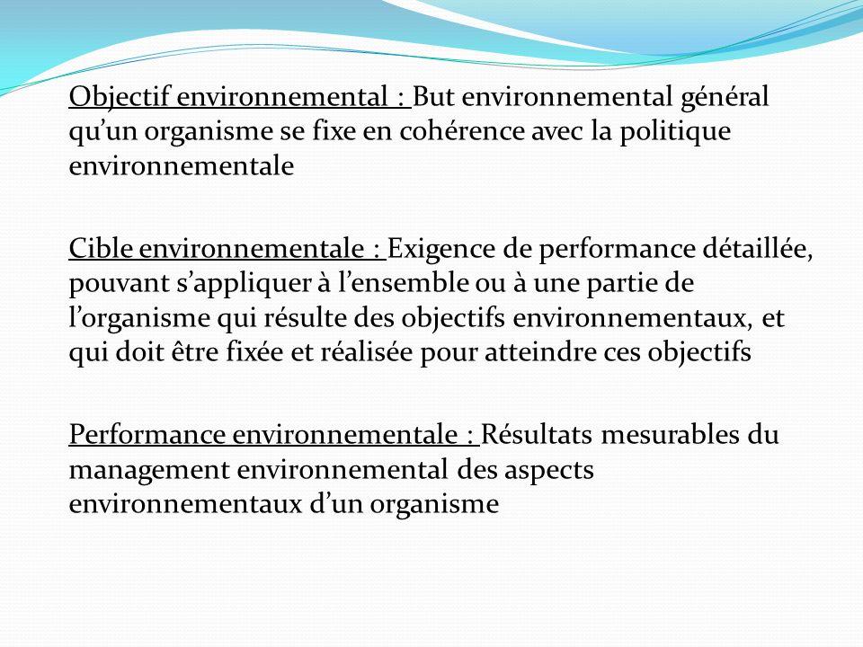 Objectif environnemental : But environnemental général quun organisme se fixe en cohérence avec la politique environnementale Cible environnementale :