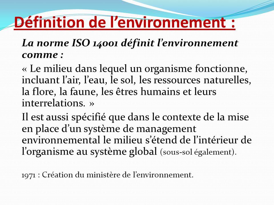 Définition de lenvironnement : La norme ISO 14001 définit lenvironnement comme : « Le milieu dans lequel un organisme fonctionne, incluant lair, leau,