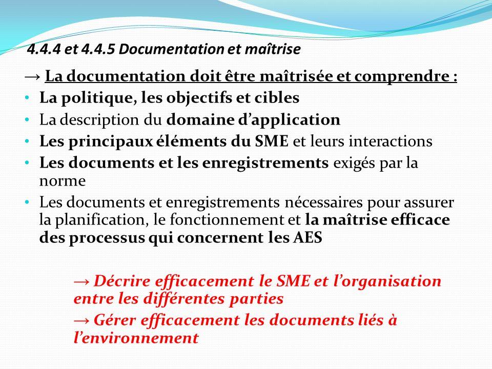 4.4.4 et 4.4.5 Documentation et maîtrise La documentation doit être maîtrisée et comprendre : La politique, les objectifs et cibles La description du