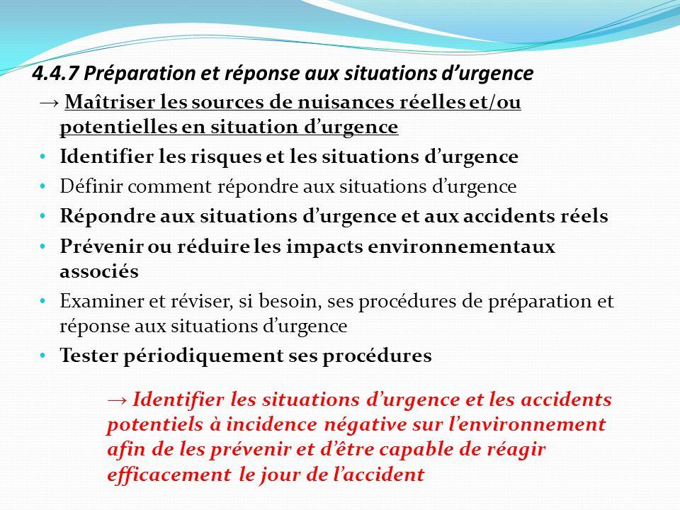 4.4.7 Préparation et réponse aux situations durgence Maîtriser les sources de nuisances réelles et/ou potentielles en situation durgence Identifier le