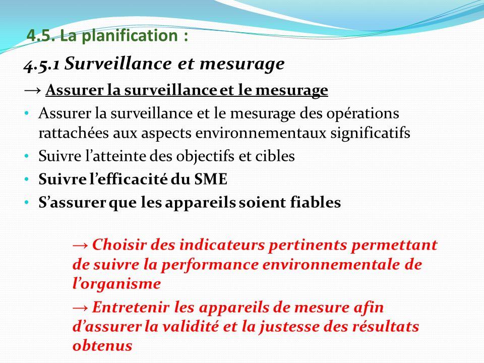 4.5.1 Surveillance et mesurage Assurer la surveillance et le mesurage Assurer la surveillance et le mesurage des opérations rattachées aux aspects env
