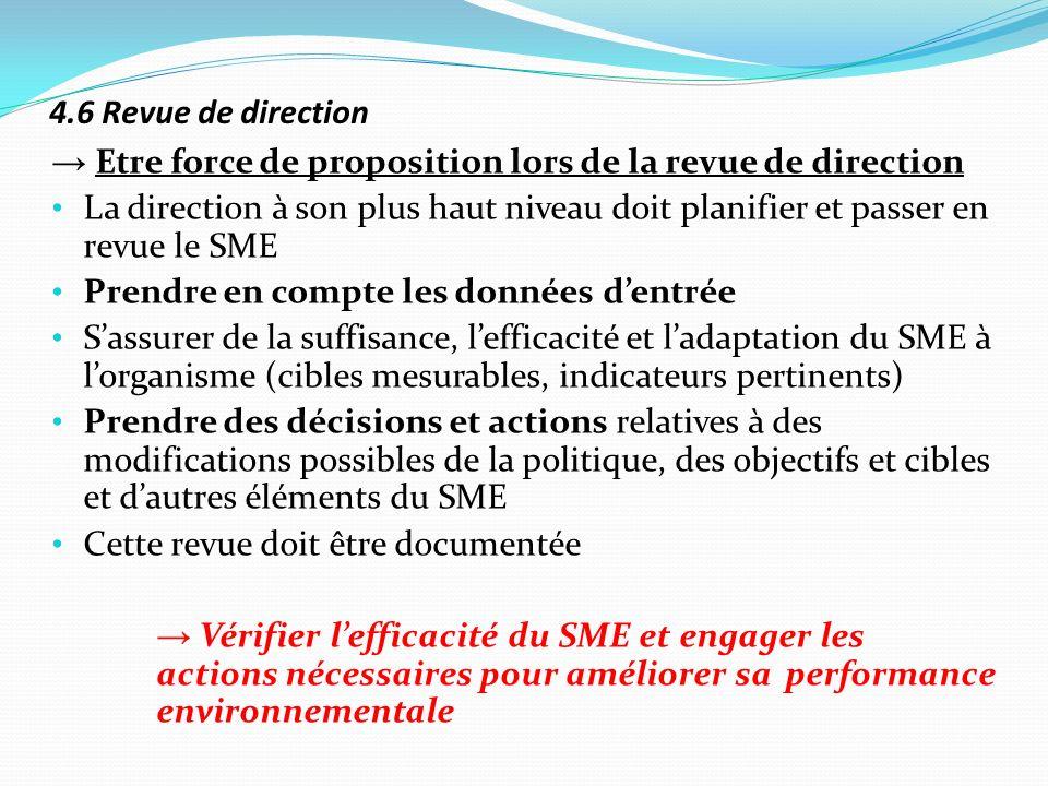 4.6 Revue de direction Etre force de proposition lors de la revue de direction La direction à son plus haut niveau doit planifier et passer en revue l