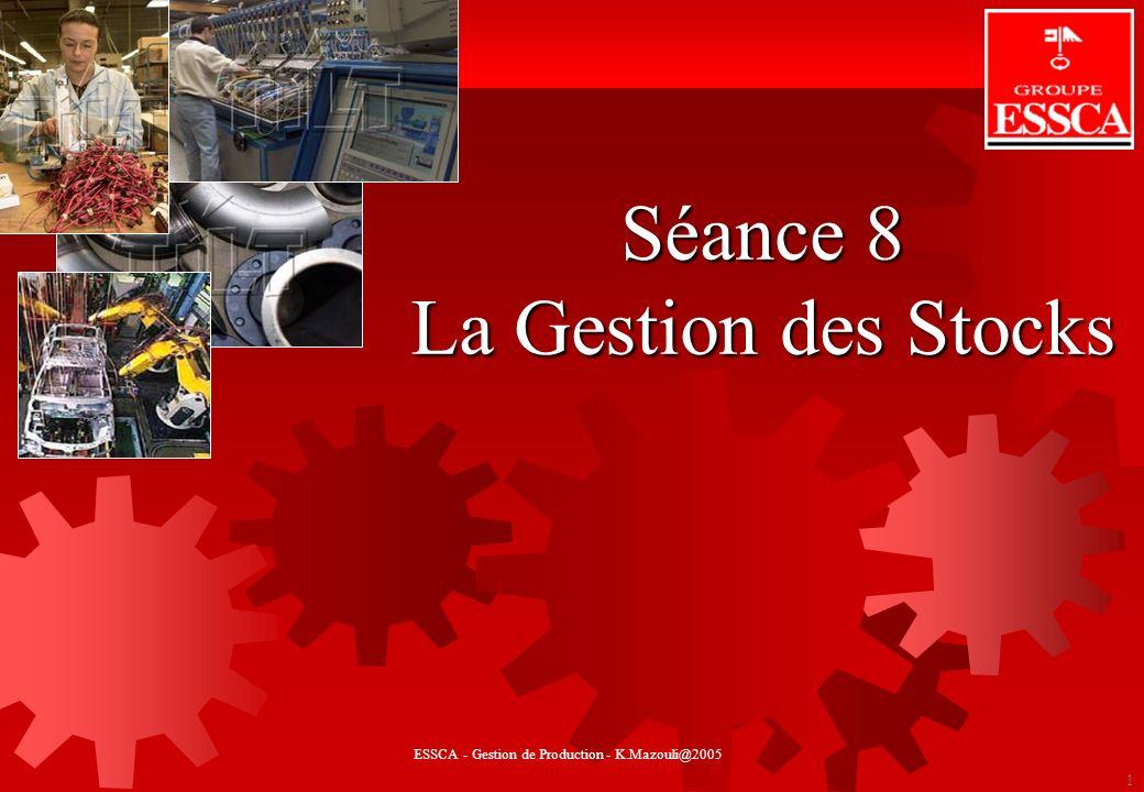 GESTION DE STOCKS 1 Séance 8 La Gestion des Stocks ESSCA - Gestion de Production - K.Mazouli@2005