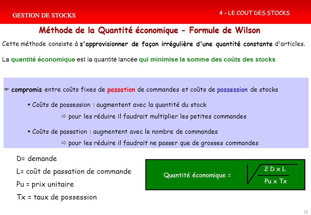 GESTION DE STOCKS 12 Méthode de la Quantité économique - Formule de Wilson Quantité économique = 2 D x L Pu x Tx 4 - LE COUT DES STOCKS compromis entr