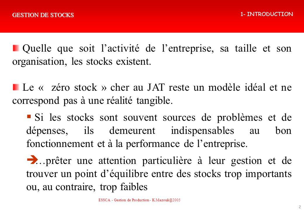 GESTION DE STOCKS 2 Quelle que soit lactivité de lentreprise, sa taille et son organisation, les stocks existent. Le « zéro stock » cher au JAT reste