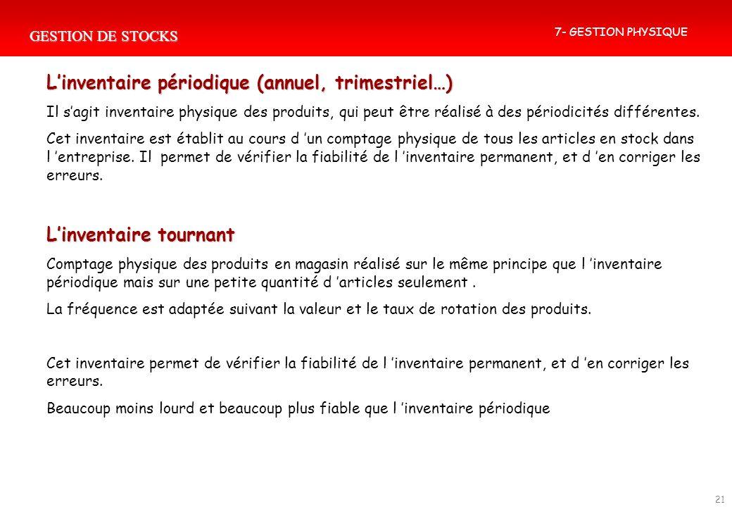 GESTION DE STOCKS 21 Linventaire périodique (annuel, trimestriel…) Il sagit inventaire physique des produits, qui peut être réalisé à des périodicités
