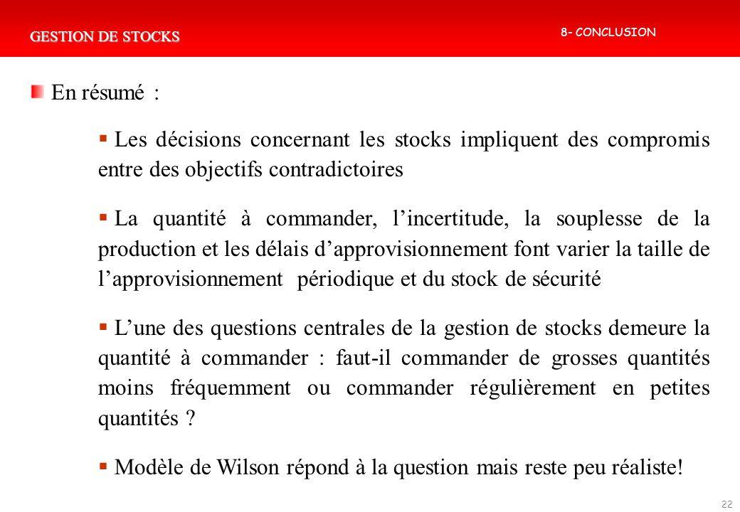GESTION DE STOCKS 22 En résumé : Les décisions concernant les stocks impliquent des compromis entre des objectifs contradictoires La quantité à comman