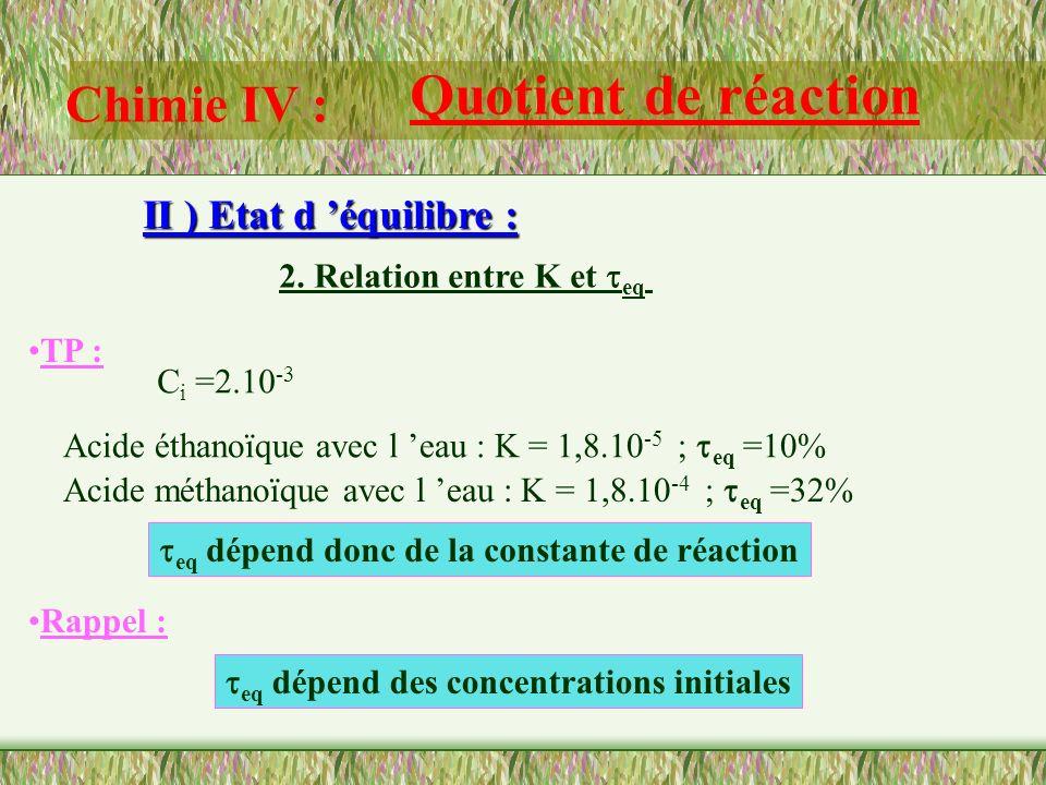 Chimie IV : Quotient de réaction II ) Etat d équilibre : 1. Quotient de réaction à l état d équilibre: Définition : Cette constante ne dépend que de l