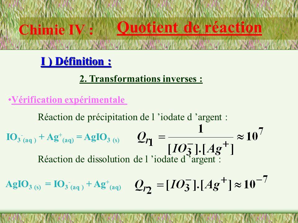 Chimie IV : Quotient de réaction I ) Définition : 2. Transformations inverses : Les quotients de réaction de deux réactions inverses sont inverses l u