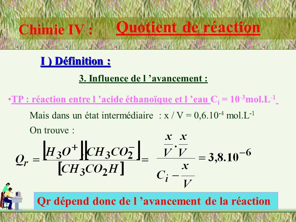 Chimie IV : Quotient de réaction I ) Définition : 3. Influence de l avancement : TP : réaction entre l acide éthanoïque et l eau C i = 10 -3 mol.L -1