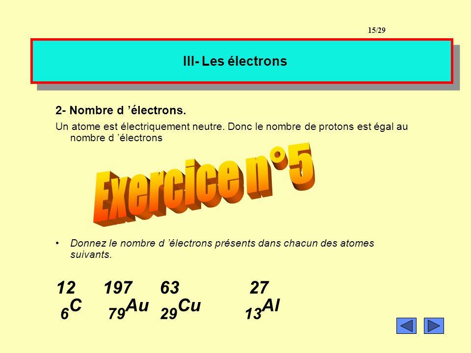 III- Les électrons 1- Quest ce quun électron? chargée d électricité négative.L électron est une particule chargée d électricité négative. Sa masse est
