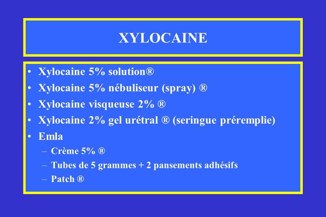 XYLOCAINE Xylocaine 5% solution® Xylocaine 5% nébuliseur (spray) ® Xylocaine visqueuse 2% ® Xylocaine 2% gel urétral ® (seringue préremplie) Emla –Crè