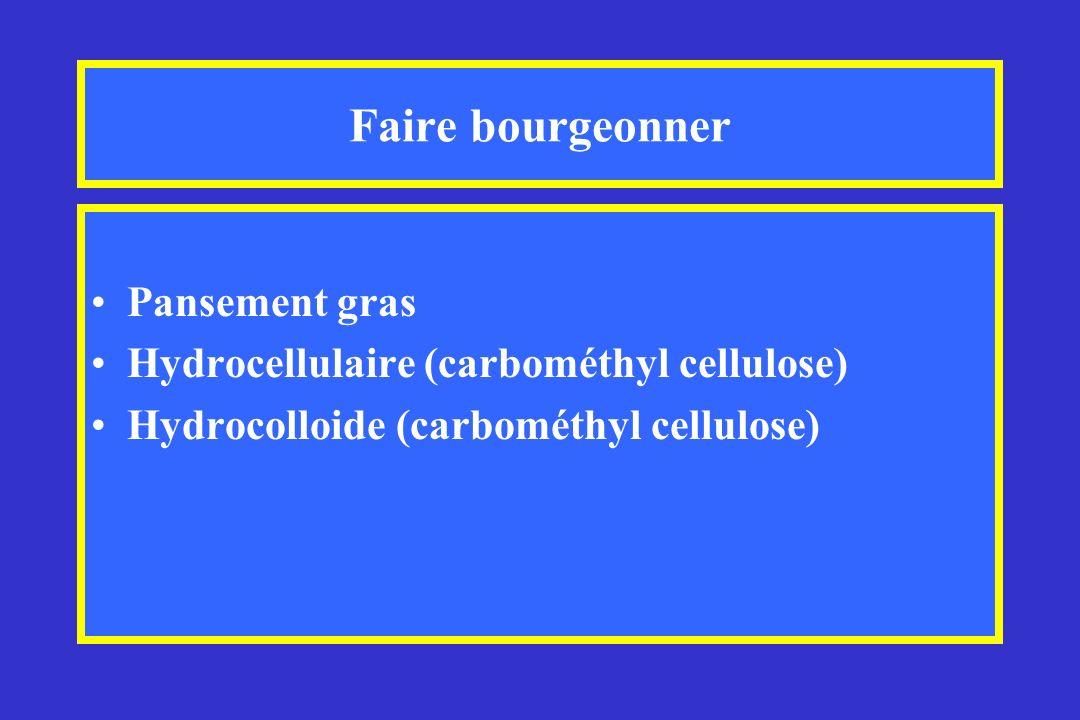 Faire bourgeonner Pansement gras Hydrocellulaire (carbométhyl cellulose) Hydrocolloide (carbométhyl cellulose)