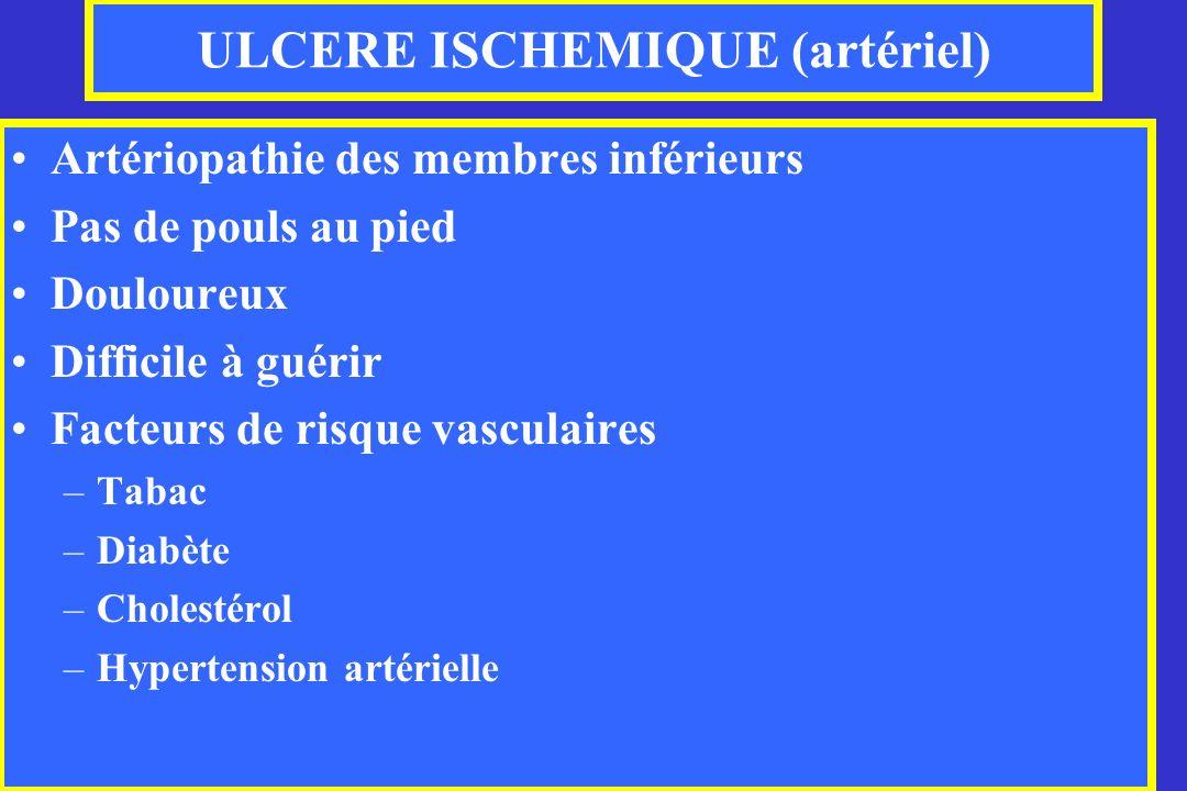 ULCERE ISCHEMIQUE (artériel) Artériopathie des membres inférieurs Pas de pouls au pied Douloureux Difficile à guérir Facteurs de risque vasculaires –T