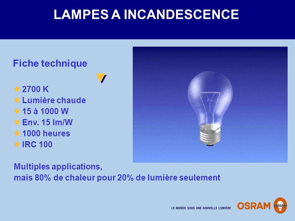 2700 K Lumière chaude 15 à 1000 W Env. 15 lm/W 1000 heures IRC 100 Multiples applications, mais 80% de chaleur pour 20% de lumière seulement LAMPES A