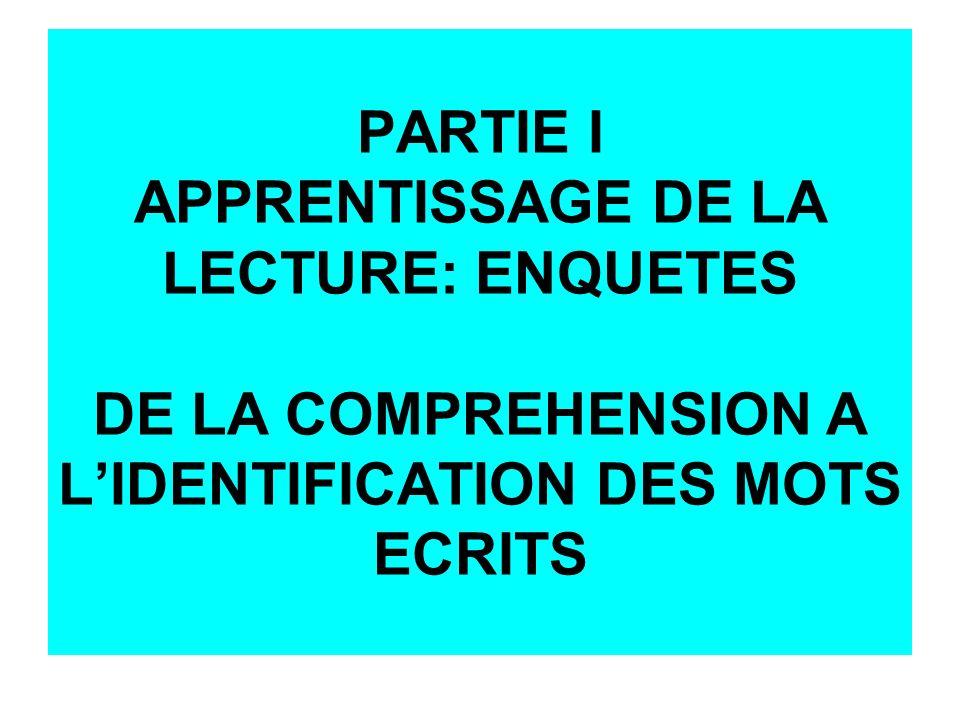 PARTIE I APPRENTISSAGE DE LA LECTURE: ENQUETES DE LA COMPREHENSION A LIDENTIFICATION DES MOTS ECRITS