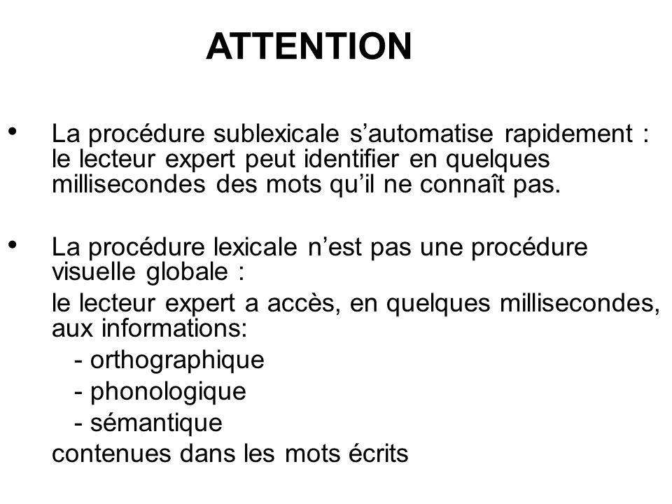 La procédure sublexicale sautomatise rapidement : le lecteur expert peut identifier en quelques millisecondes des mots quil ne connaît pas. La procédu