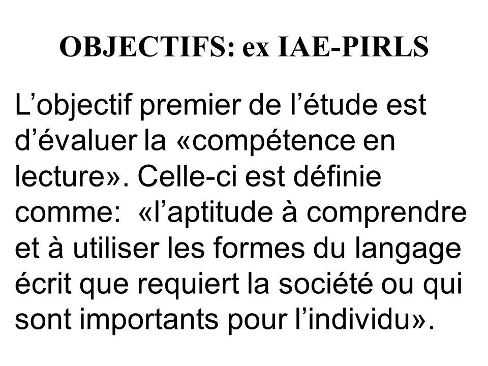 OBJECTIFS: ex IAE-PIRLS Lobjectif premier de létude est dévaluer la «compétence en lecture». Celle-ci est définie comme: «laptitude à comprendre et à