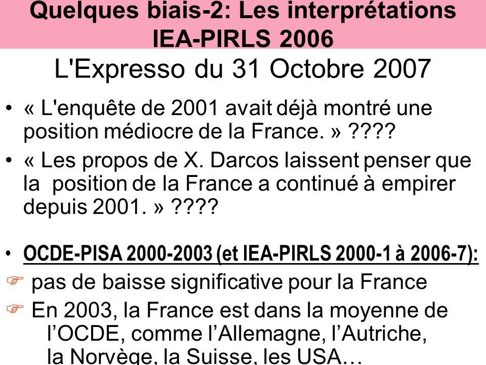L'Expresso du 31 Octobre 2007 « L'enquête de 2001 avait déjà montré une position médiocre de la France. » ???? « Les propos de X. Darcos laissent pens