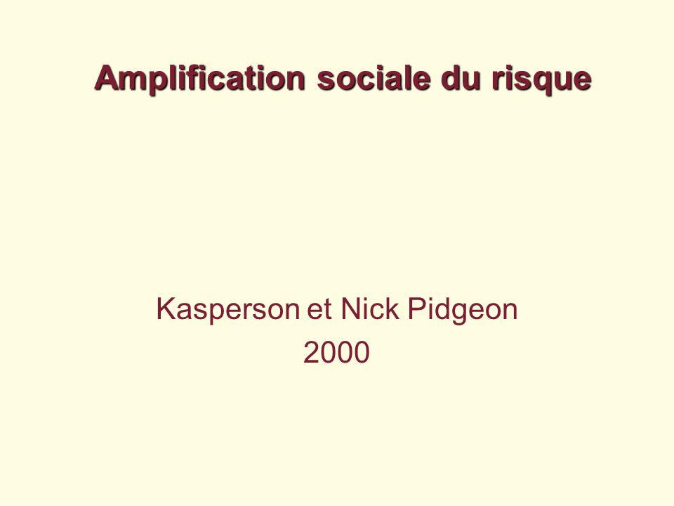 Amplification sociale du risque Kasperson et Nick Pidgeon 2000