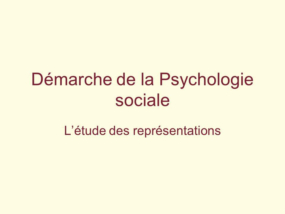 Démarche de la Psychologie sociale Létude des représentations