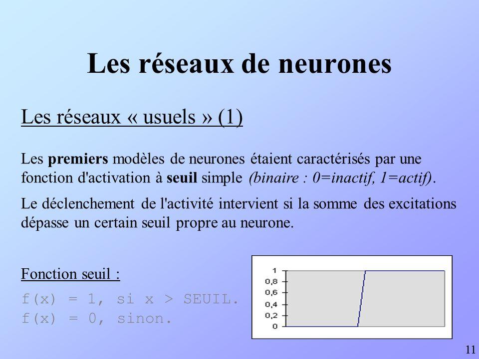 Les réseaux de neurones Les réseaux « usuels » (2) 12 Le modèle binaire a été rapidement perfectionné, mais l effet de seuil reste souvent recherché.