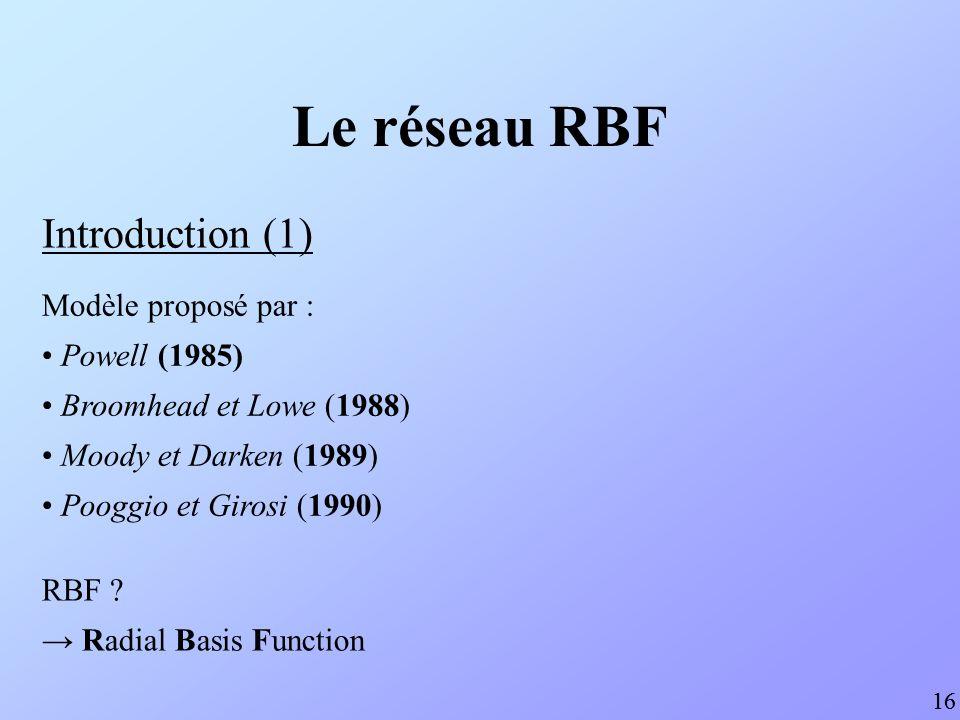 Introduction (1) 16 Modèle proposé par : Powell (1985) Broomhead et Lowe (1988) Moody et Darken (1989) Pooggio et Girosi (1990) RBF ? Radial Basis Fun