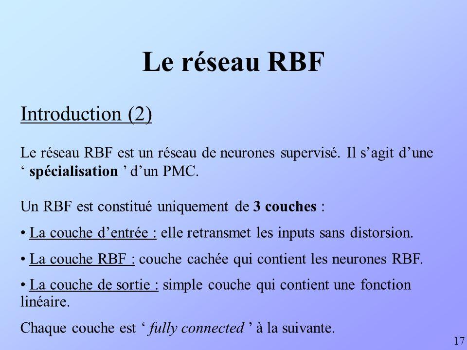 Le réseau RBF Introduction (3) … … ENTREESORTIE n N 18 Chaque neurone RBF contient une gaussienne qui est centrée sur un points de lespace dentrée.