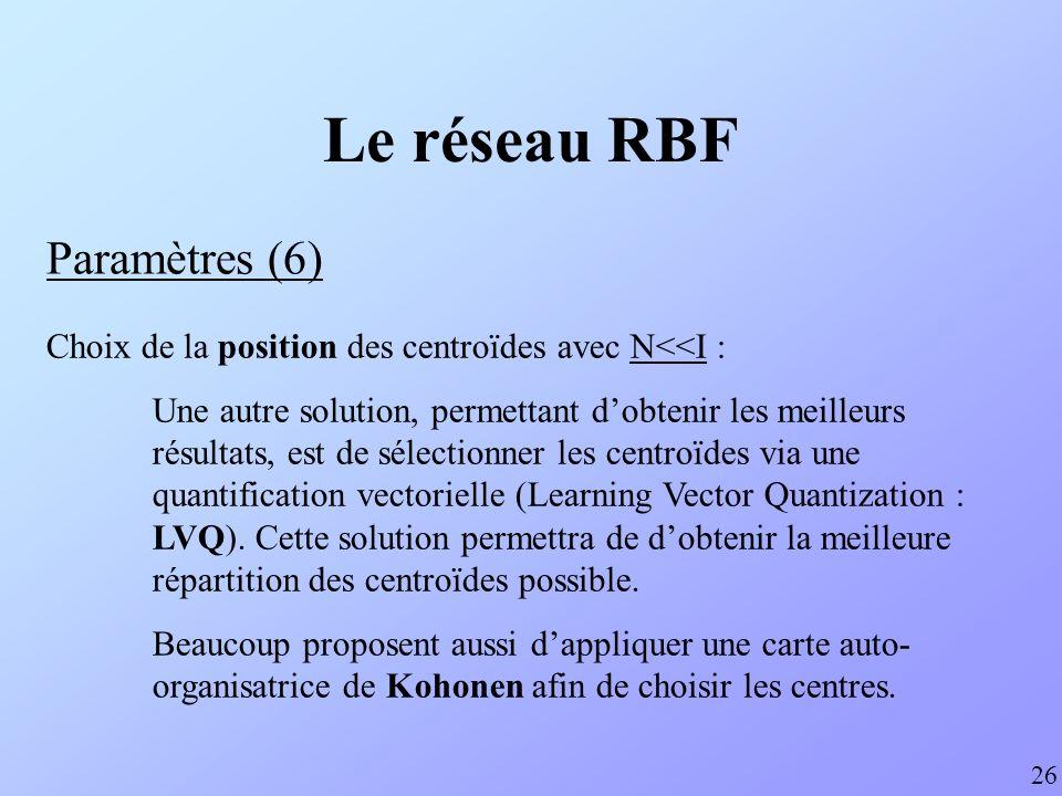 Le réseau RBF Paramètres (6) Choix de la position des centroïdes avec N<<I : Une autre solution, permettant dobtenir les meilleurs résultats, est de s
