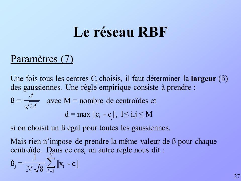 Le réseau RBF Paramètres (8) 28 Une fois le nombre et la position des centroïdes et la largeur des gaussiennes fixés, les poids de chacune des connexions (RBF-output) peut être calculé par léquation matricielle suivante : avec f(x) = EXP(x² / (2* ß ²)), la gaussienne.