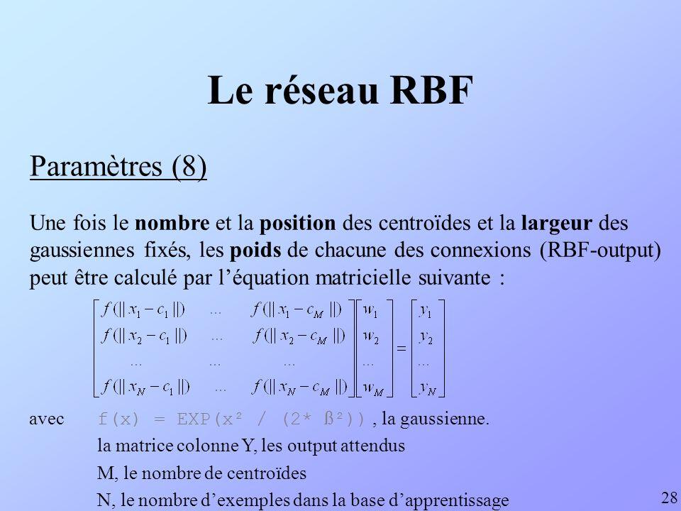 Le réseau RBF Paramètres (8) 28 Une fois le nombre et la position des centroïdes et la largeur des gaussiennes fixés, les poids de chacune des connexi