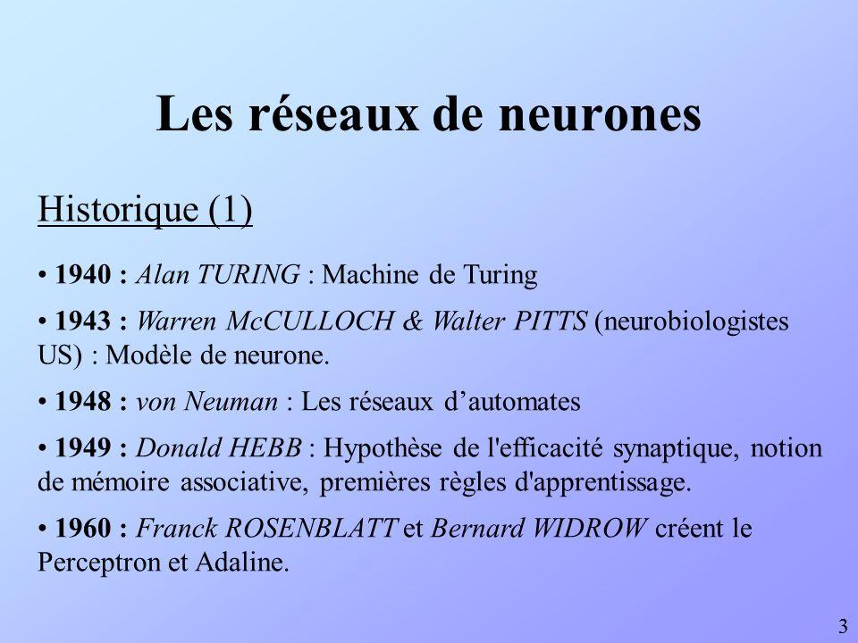 Historique (1) 3 1940 : Alan TURING : Machine de Turing 1943 : Warren McCULLOCH & Walter PITTS (neurobiologistes US) : Modèle de neurone. 1948 : von N