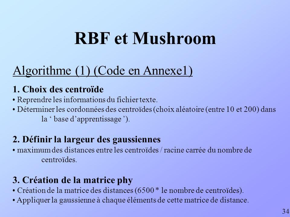 RBF et Mushroom Algorithme (1) (Code en Annexe1) 34 1. Choix des centroïde Reprendre les informations du fichier texte. Déterminer les cordonnées des