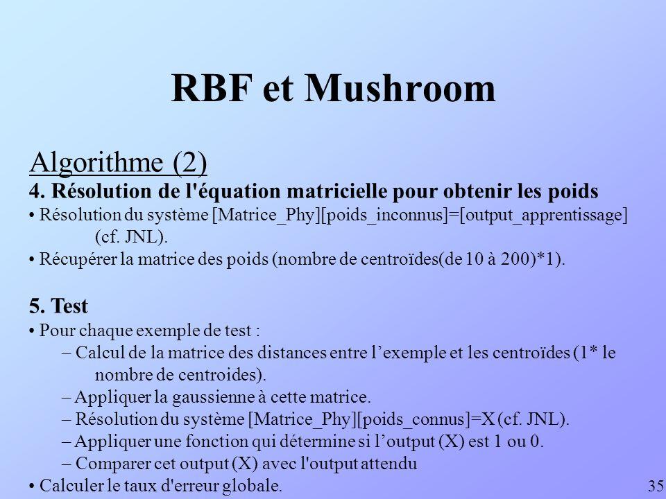 RBF et Mushroom Algorithme (2) 35 4. Résolution de l'équation matricielle pour obtenir les poids Résolution du système [Matrice_Phy][poids_inconnus]=[