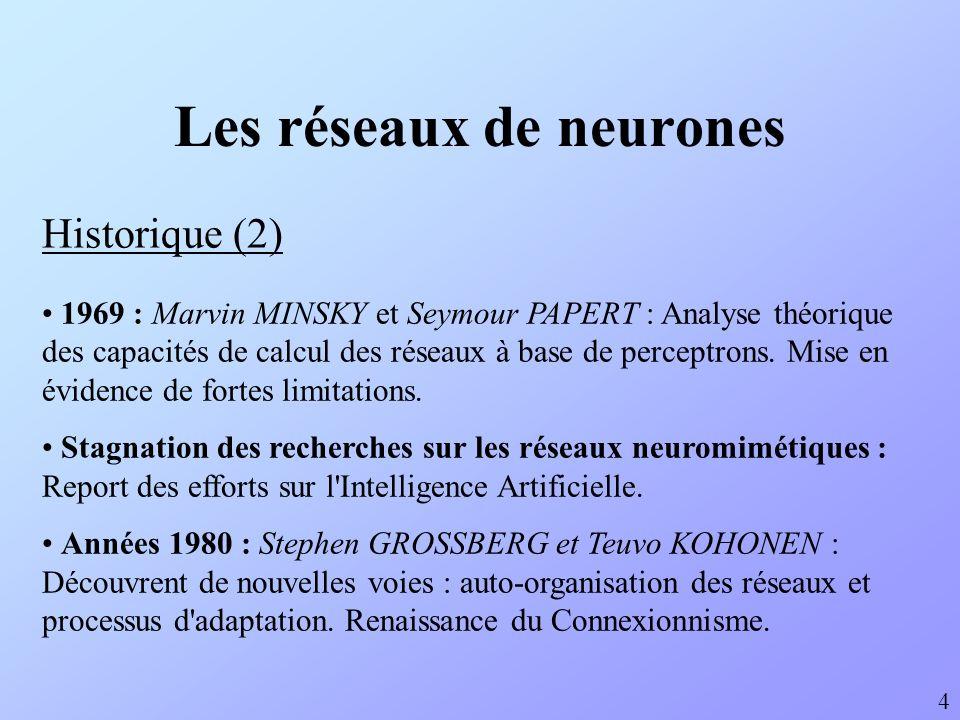Les réseaux de neurones Historique (2) 1969 : Marvin MINSKY et Seymour PAPERT : Analyse théorique des capacités de calcul des réseaux à base de percep