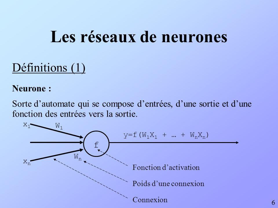Les réseaux de neurones Définitions (1) 6 6 Neurone : Sorte dautomate qui se compose dentrées, dune sortie et dune fonction des entrées vers la sortie