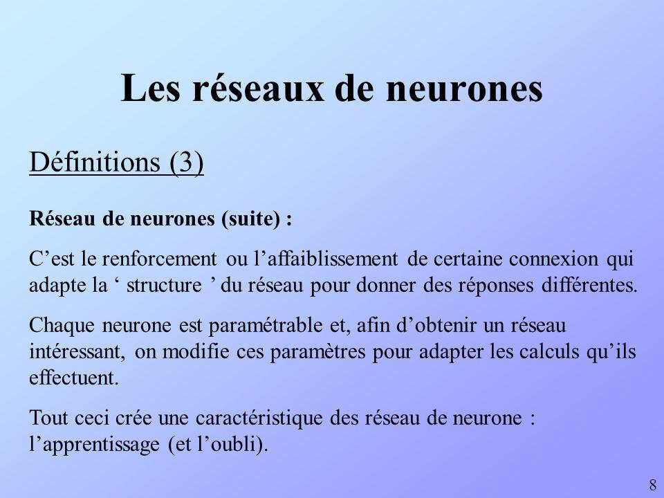 Les réseaux de neurones Définitions (3) 8 Réseau de neurones (suite) : Cest le renforcement ou laffaiblissement de certaine connexion qui adapte la st