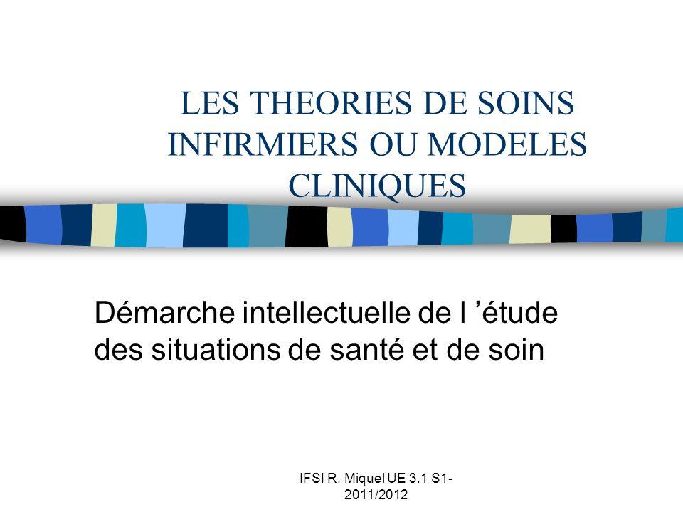 IFSI R. Miquel UE 3.1 S1- 2011/2012 LES THEORIES DE SOINS INFIRMIERS OU MODELES CLINIQUES Démarche intellectuelle de l étude des situations de santé e