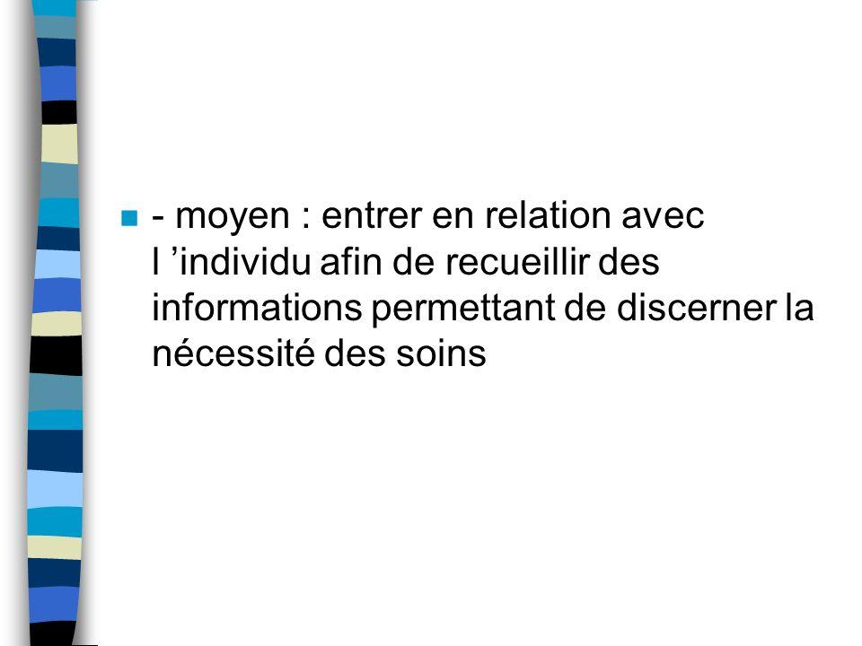 n - moyen : entrer en relation avec l individu afin de recueillir des informations permettant de discerner la nécessité des soins