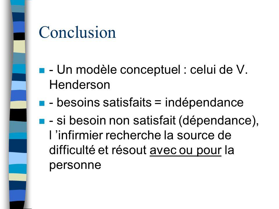 Conclusion n - Un modèle conceptuel : celui de V. Henderson n - besoins satisfaits = indépendance n - si besoin non satisfait (dépendance), l infirmie