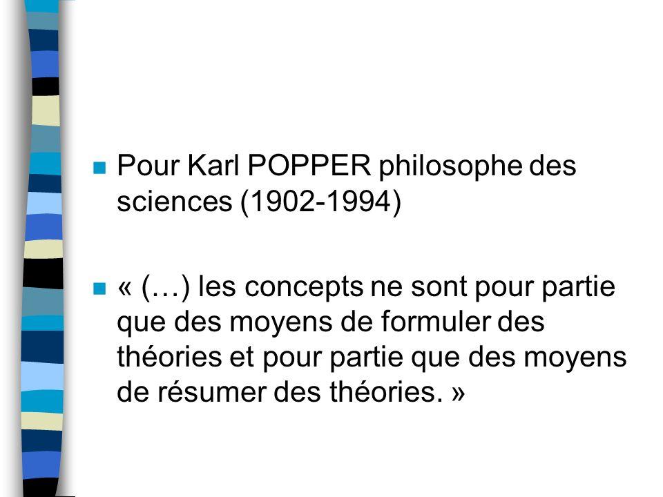 n Pour Karl POPPER philosophe des sciences (1902-1994) n « (…) les concepts ne sont pour partie que des moyens de formuler des théories et pour partie que des moyens de résumer des théories.