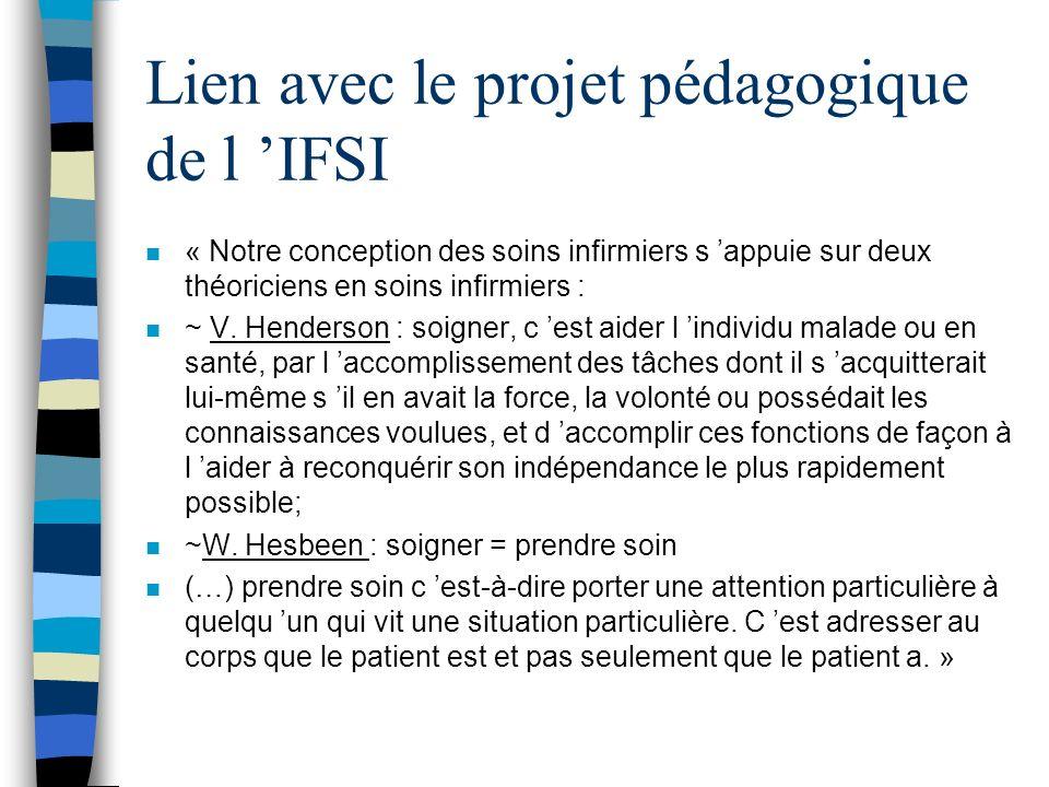 Lien avec le projet pédagogique de l IFSI n « Notre conception des soins infirmiers s appuie sur deux théoriciens en soins infirmiers : n ~ V. Henders