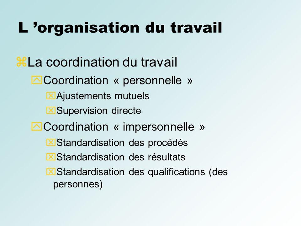 L organisation du travail La coordination du travail Coordination « personnelle » Ajustements mutuels Supervision directe Coordination « impersonnelle
