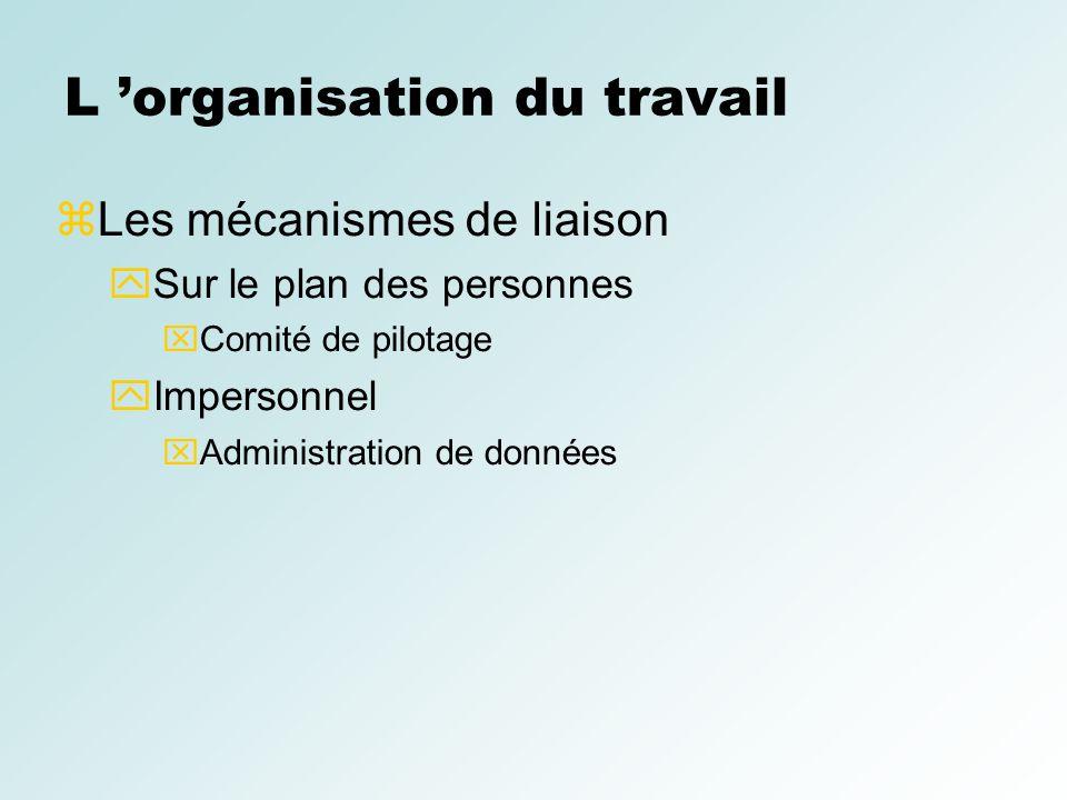 L organisation du travail Les mécanismes de liaison Sur le plan des personnes Comité de pilotage Impersonnel Administration de données