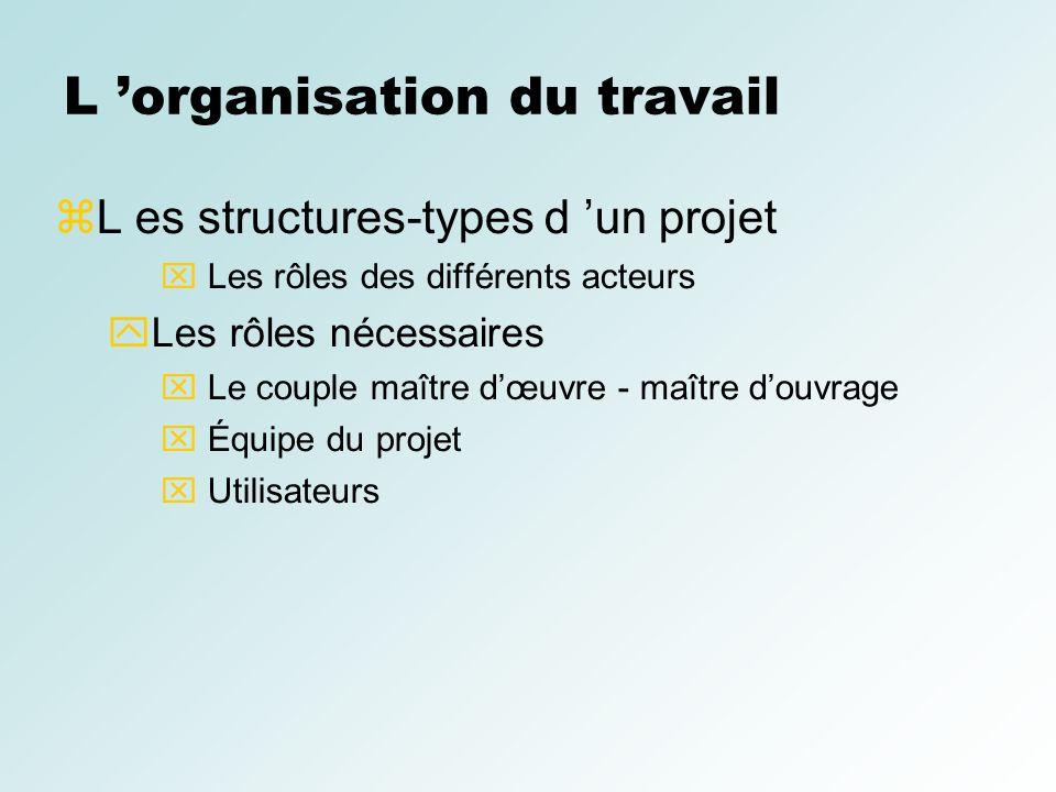 L organisation du travail L es structures-types d un projet Les rôles des différents acteurs Les rôles nécessaires Le couple maître dœuvre - maître do
