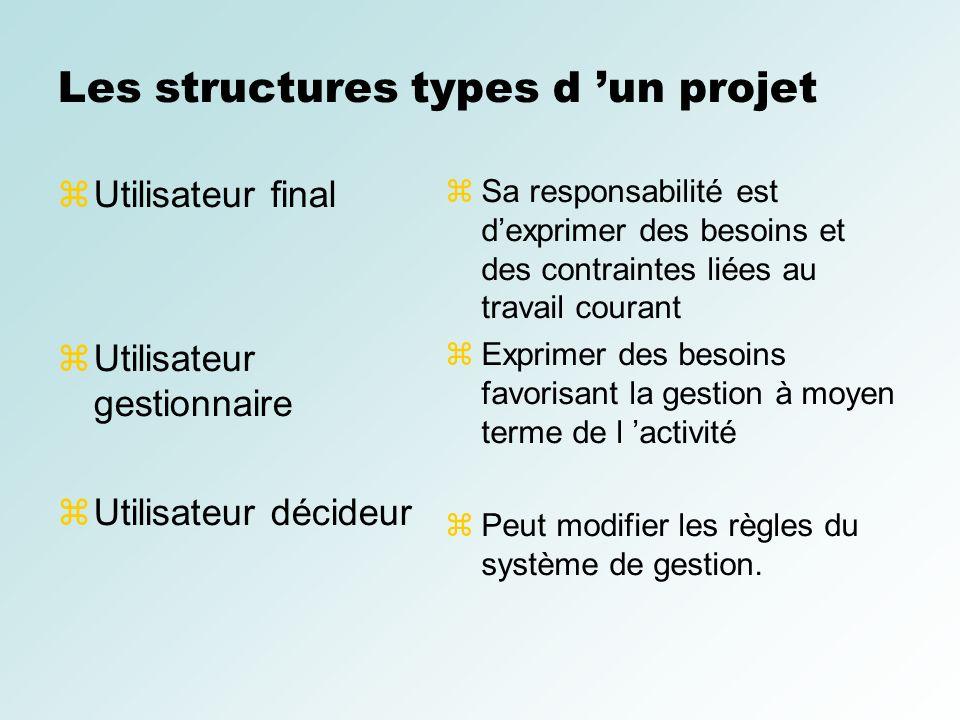 Les structures types d un projet Utilisateur final Utilisateur gestionnaire Utilisateur décideur Sa responsabilité est dexprimer des besoins et des co