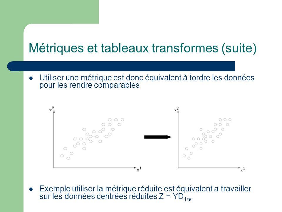 Métriques et tableaux transformes (suite) Utiliser une métrique est donc équivalent à tordre les données pour les rendre comparables Exemple utiliser